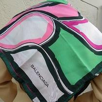 Vintage Balenciaga Multicolored 100% Silk Abstract Scarf 31 X 30.5 Photo