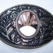 Vintage Belt Buckle Floral Design W/ Inaid Mother of Pearl Shell Center Sunrise  Photo