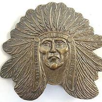 Vintage Belt Buckle Indian Chief Sitting Bull Brass by Tiffany  Photo