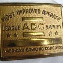 Vintage Belt Buckle Solid Brass American Bowling Congress Abc Award Improved Usa Photo