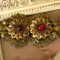 Vintage Belt Buckle Victorian Ornate Red Glass Gold Tone Edwardian Fancy Photo