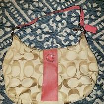 Vintage Berry Pink & Khaki Coach Signature Stripe Hobo Purse  A1260-F19281 Photo