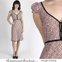 Vintage Betsey Johnson Dress Sheer Pink Floral Lace Punk Cocktail Party Mini S Photo