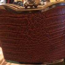 Vintage Bijoux Terner Clam Shell Faux Croc Flask Purse Brown Gold Tone Jewel Photo