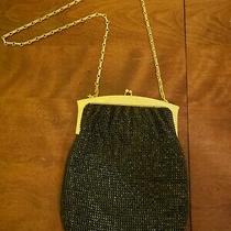 Vintage Black and Gold Metal Mesh Whiting & Davis Purse Handbag Made in Usa Photo