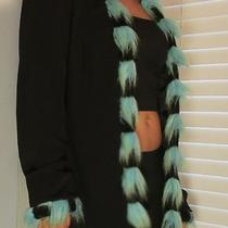 Vintage Black Aqua Blue Fuzzy Furry Trim Jacket Sz M Funky Unique Euc Very Cool Photo