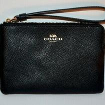Vintage Black Coach Coin & Credit Cards Purse With Gold Zipper Photo