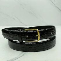 Vintage Black Croc Embossed Genuine Leather Belt Size 38 Photo