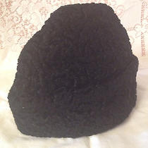 Vintage Black Curly Lamb Fur Hat Size Med Pristine Condition 1947-1964unisex Photo