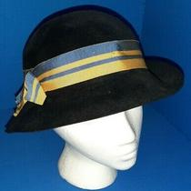 Vintage Black Henry Barrie Manchester Peach Bloom Velour Hat W/ Blue & Gold Band Photo