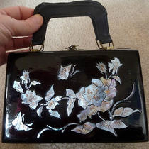 Vintage Black Lacquer Asian-Style Glossy Purse Mother-of-Pearl Inlay Bird Floral Photo