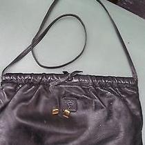 Vintage Black Leather Anne Klein Logo Lion Purse & Gold Earrings Lot  Photo