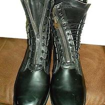 Vintage Black Leather Army Zipper Front Boots Addison Shoe Co. Size 10.5 E 1983 Photo