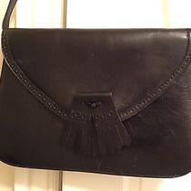Vintage Black Leather Bally Bag Purse W/oxford Flap Detail  Photo