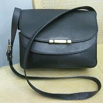 Vintage Black Leather Bally Crossbody Handbag Purse Photo