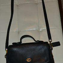 Vintage Black Leather Coach Satchel Handbag. Photo