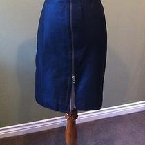 Vintage Black Leather Skirt Front Zipper High Waist Pencil Wiggle Avon Xl 17/18 Photo