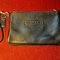 Vintage Black Leather Wristlet Clutch Coach Rare Purse Photo