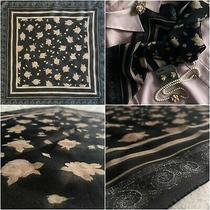 Vintage Black & Muted Pink Rose & Shell Fossil Motif Floral Chiffon Scarf (Os) Photo