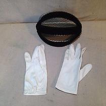 Vintage Black Pillbox Hat With White Gloves  Nice Lane Bryant Photo