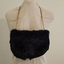 Vintage Black Rabbit Fur Pochette With Gold Chain Strap Bag the Limited Photo