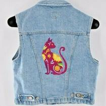 Vintage Blue Denim Jean Vest Small Upcycled Spirit Animal Cat Embroidered Ooak Photo