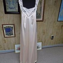 Vintage Blush Peach Nylon  Lace Vanity Fair Full Length Nightgown Small Photo