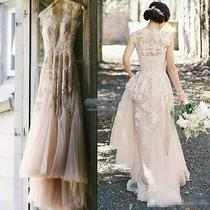 Vintage Blush Tulle Wedding Dresses 2016 Cap Sleeve Appliques Lace Bridal Gowns Photo