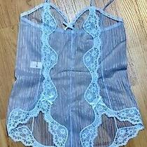 Vintage Blush Ultra Sheer Blue Nylon Lace Teddy Sz M Photo