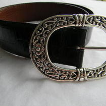 Vintage Boho Good Looking Brighton Like Belt..black W/ Big Silver Buckle Photo