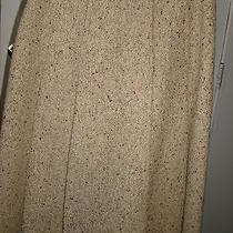 Vintage Boutique Valentino 100% Wool Tweed Tan Browns a-Line Skirt Sz 10 (Euc) Photo