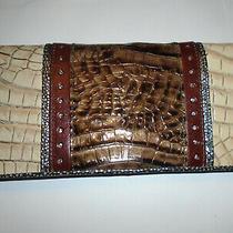Vintage Brahmin Creme Mocha Gun Metal Blue Grey Oyster Brown Croc Leather Wallet Photo