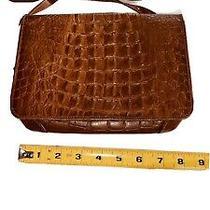 Vintage  Brahmin Leather Brown Croc Embossed Leather Crossbody Purse Bag Photo