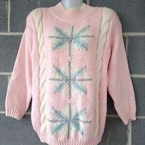 Vintage Bramble Lane Pastel Sweater Fairy Kei Snowflake 90s Blush Pink Hand Knit Photo