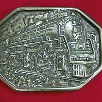 Vintage Brass Belt Buckle Avon Train or Locomotive Steaming Away on Railway Photo