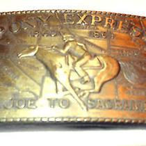 Vintage Brass Plated Pony Express St. Joe to Sacramento Belt Buckle Unbranded Photo