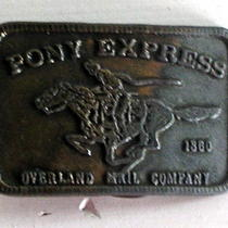 Vintage Brass Pony Express Overland Mail Company 1860 Belt Buckle  Photo