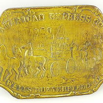 Vintage Brass Tone American Express Co Wells Butterfield & Co Belt Buckle Photo