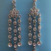 Vintage Bridal Chandelier Earrings Clear Swarovski Crystal Flower Earring E2039 Photo