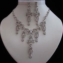 Vintage Bridal Necklace & Earrings Set Clear Swarovski Crystal Wedding Set N3015 Photo