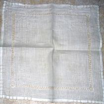 Vintage Bright White Natural Silk Handkerchief Fancy & Detailed Drawn Work Photo