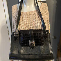 Vintage Brighton Auth. Block Square Shoulder Bag Purse Handbag  Black Leather Photo