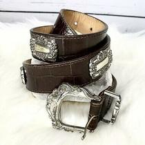 Vintage Brighton Belt Womens Brown Embossed Leather Concho Sz M Silver Hardware Photo