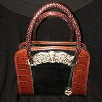 Vintage Brighton  Black Brown Croc Embossed Leather Purse With Woven Straps Photo