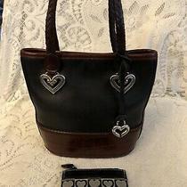 Vintage Brighton Black Leather Bucket Purse W/brown Croc Pattern &coin Pouch Photo
