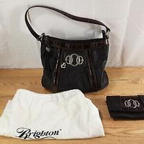 Vintage Brighton Black Leather Handbag Purse With Matching Wallet  Photo