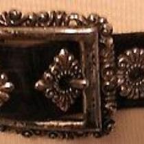 Vintage Brighton Black Leather W/silver Hardware Buckle Stud Details Large 1996 Photo
