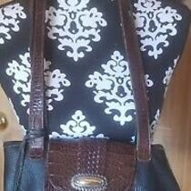 Vintage Brighton Brown Black Leather Shoulder Bucket Bag Purse  Heart Fob Photo