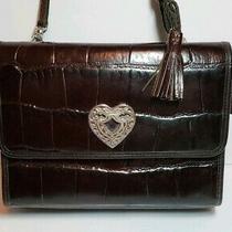 Vintage Brighton Brown Tasseled Heart Mock Croc Crossbody Organizer Phone Wallet Photo