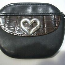Vintage Brighton Leather Black/brown  Small Zippered Coin  Wallet Photo
